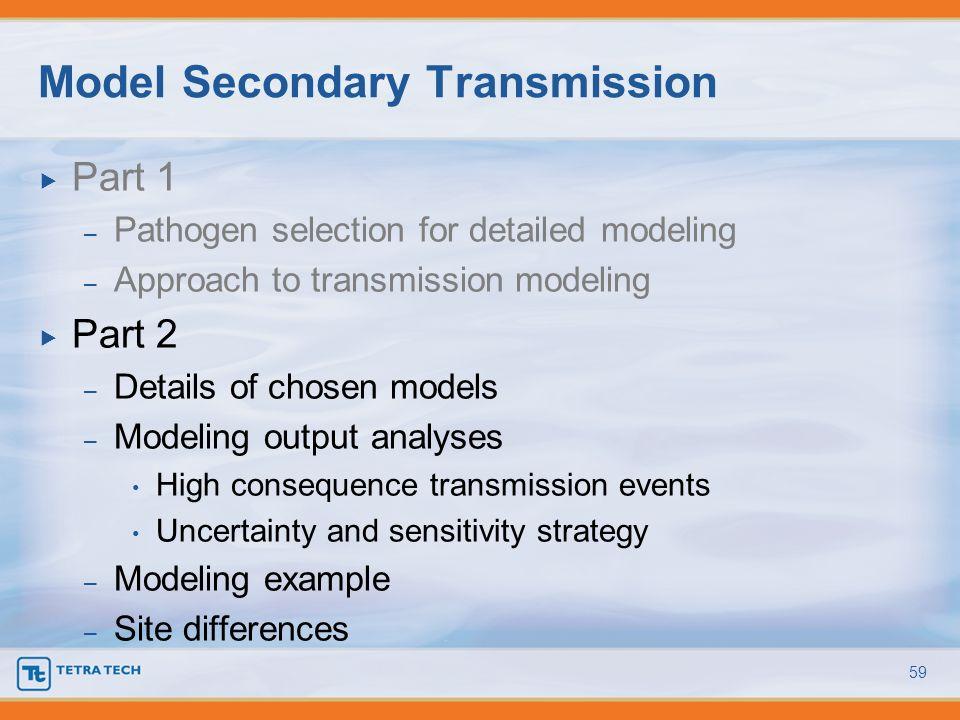 Part 1 – Pathogen selection for detailed modeling – Approach to transmission modeling Part 2 – Details of chosen models – Modeling output analyses Hig