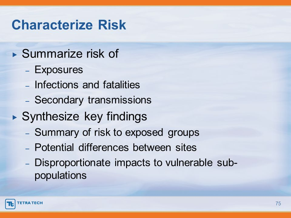 Summarize risk of – Exposures – Infections and fatalities – Secondary transmissions Synthesize key findings – Summary of risk to exposed groups – Pote