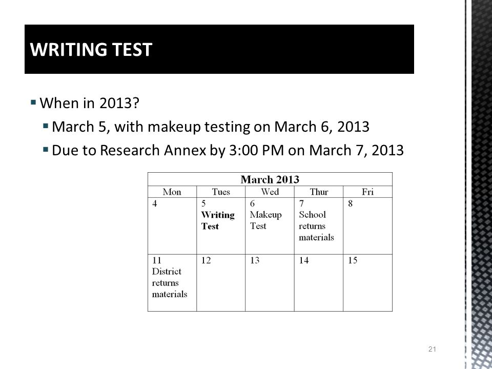 When in 2013? March 5, with makeup testing on March 6, 2013 Due to Research Annex by 3:00 PM on March 7, 2013 21 WRITING TEST