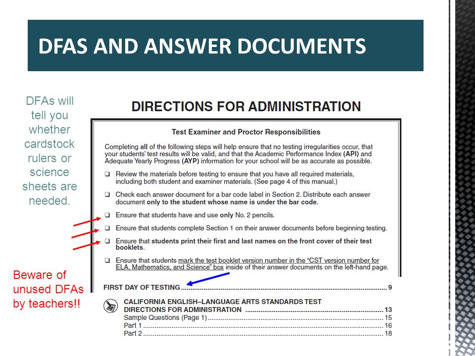 DFAS AND ANSWER DOCUMENTS 38 DFAs will tell you whether cardstock rulers or science sheets are needed. Beware of unused DFAs by teachers!!