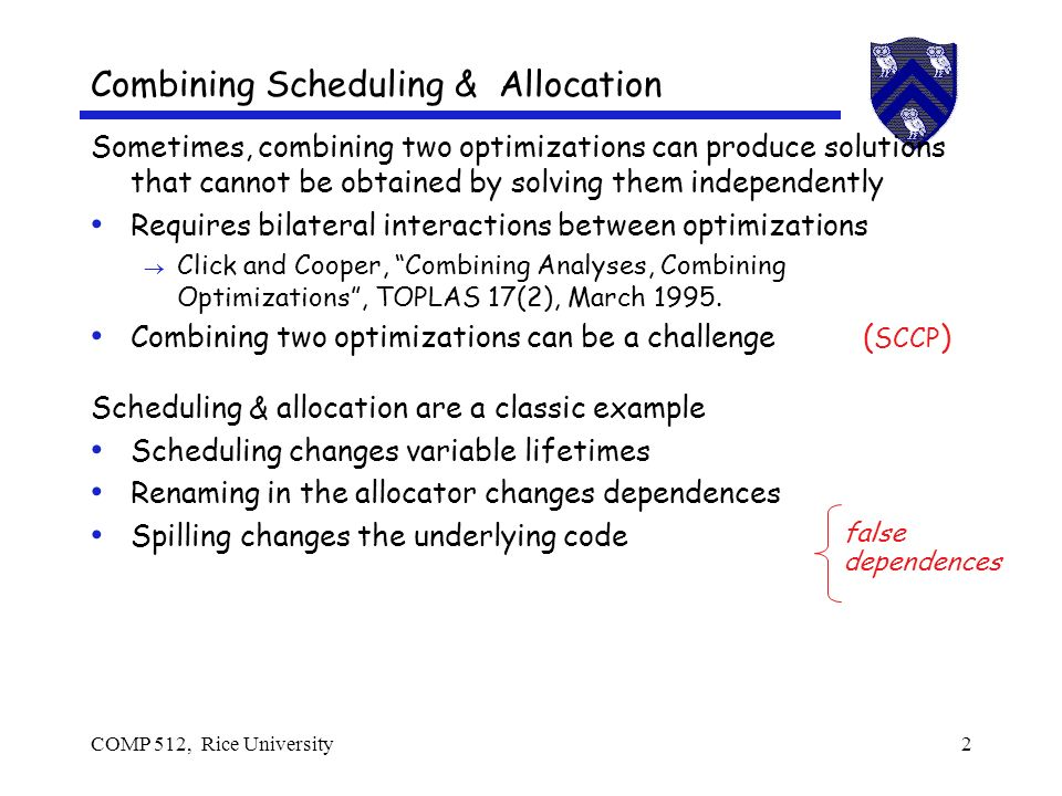 COMP 512, Rice University13 Scheduling Example 1.Build the dependence graph 2.