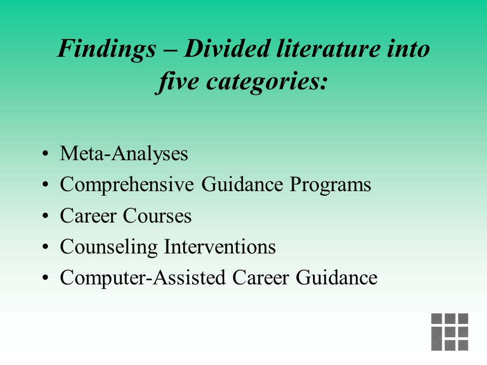 Methodology of the Study Review of over 50 studies published from 1983 forward Focus on studies that report program outputs or outcomes Most studies i