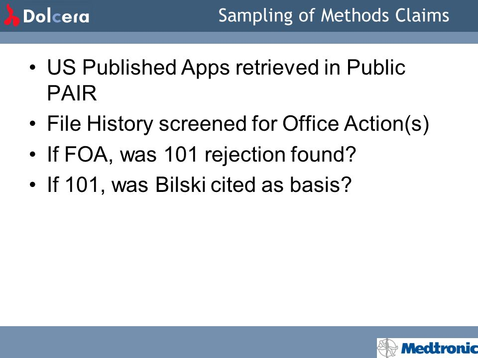 Sampling of Methods Claims US Published Apps retrieved in Public PAIR File History screened for Office Action(s) If FOA, was 101 rejection found.