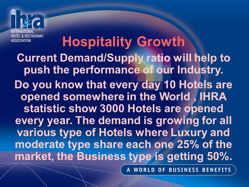 Hospitality Growth Current Demand/Supply ratio will help to push the performance of our Industry.