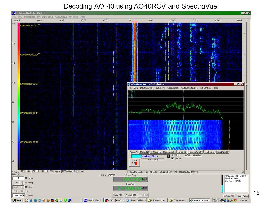 15 Decoding AO-40 using AO40RCV and SpectraVue