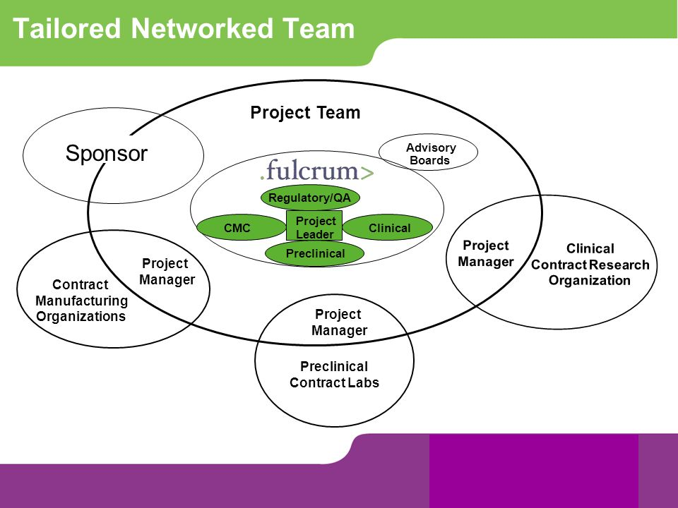 Tailored Networked Team Project Team Advisory Boards Project Manager Preclinical Contract Labs Project Manager Contract Manufacturing Organizations Re