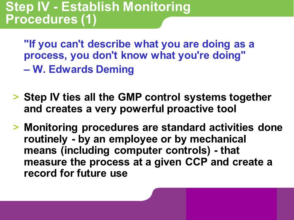 Step IV - Establish Monitoring Procedures (1)