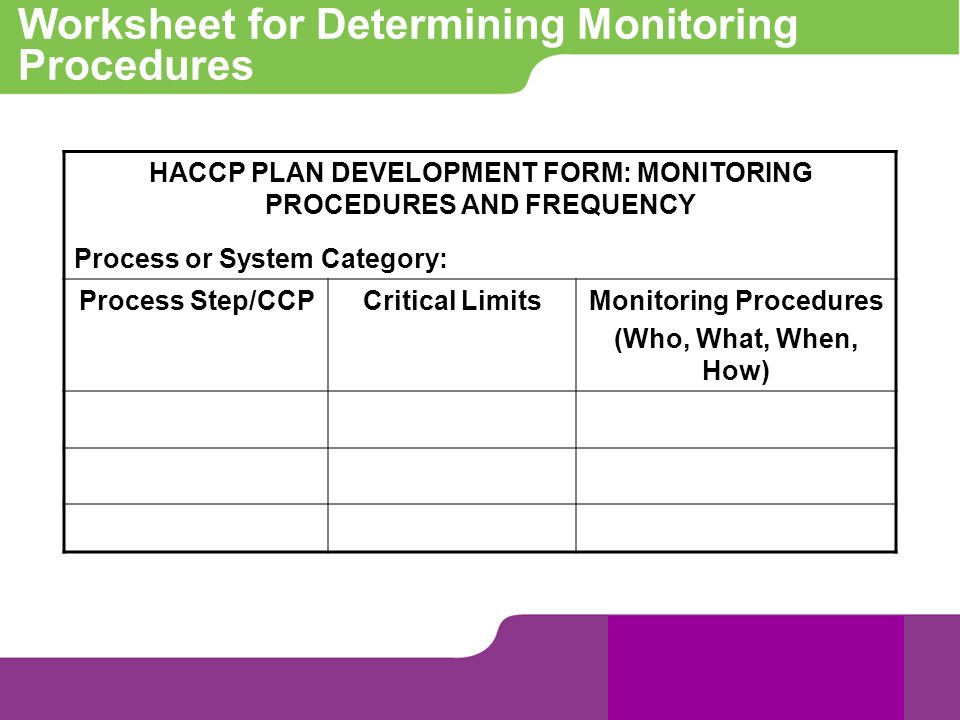 Worksheet for Determining Monitoring Procedures HACCP PLAN DEVELOPMENT FORM: MONITORING PROCEDURES AND FREQUENCY Process or System Category: Process S