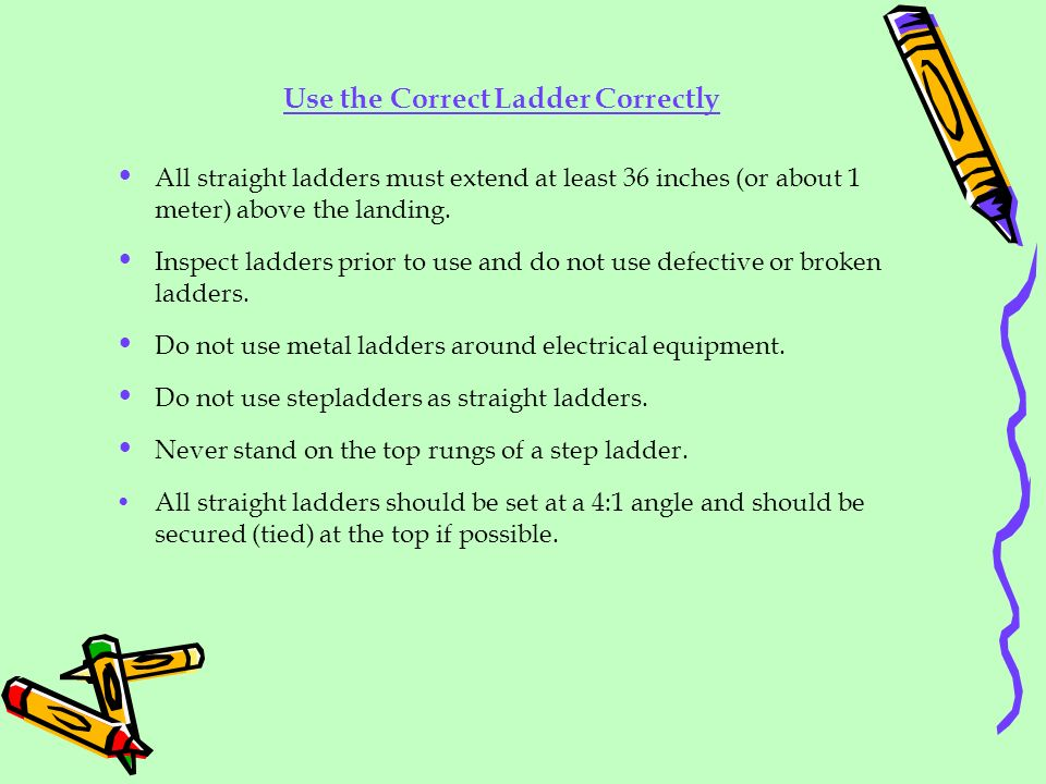 Use the Correct Ladder Correctly All straight ladders must extend at least 36 inches (or about 1 meter) above the landing. Inspect ladders prior to us