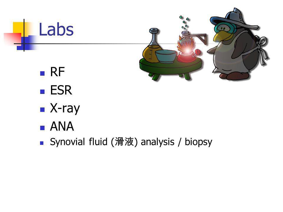 Labs RF ESR X-ray ANA Synovial fluid ( ) analysis / biopsy