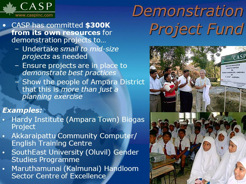 Demonstration Project Fund CASP has committed $300K from its own resources for demonstration projects to… –Undertake small to mid-size projects as nee