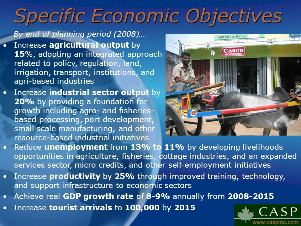Specific Economic Objectives By end of planning period (2008)… Increase agricultural output by 15%, adopting an integrated approach related to policy,