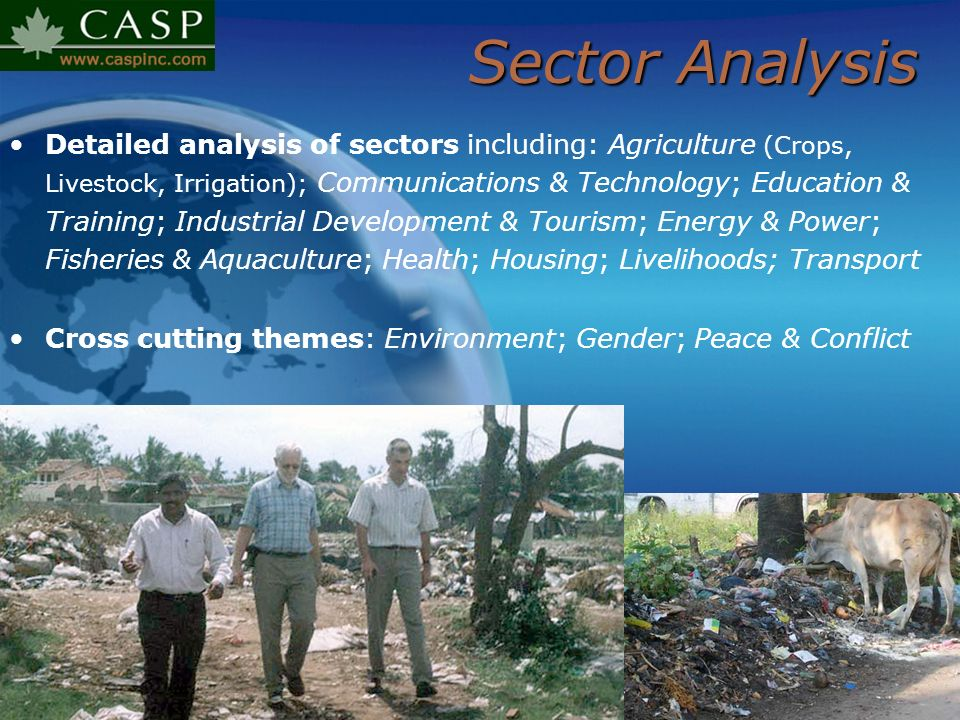 Sector Analysis Detailed analysis of sectors including: Agriculture (Crops, Livestock, Irrigation); Communications & Technology; Education & Training;