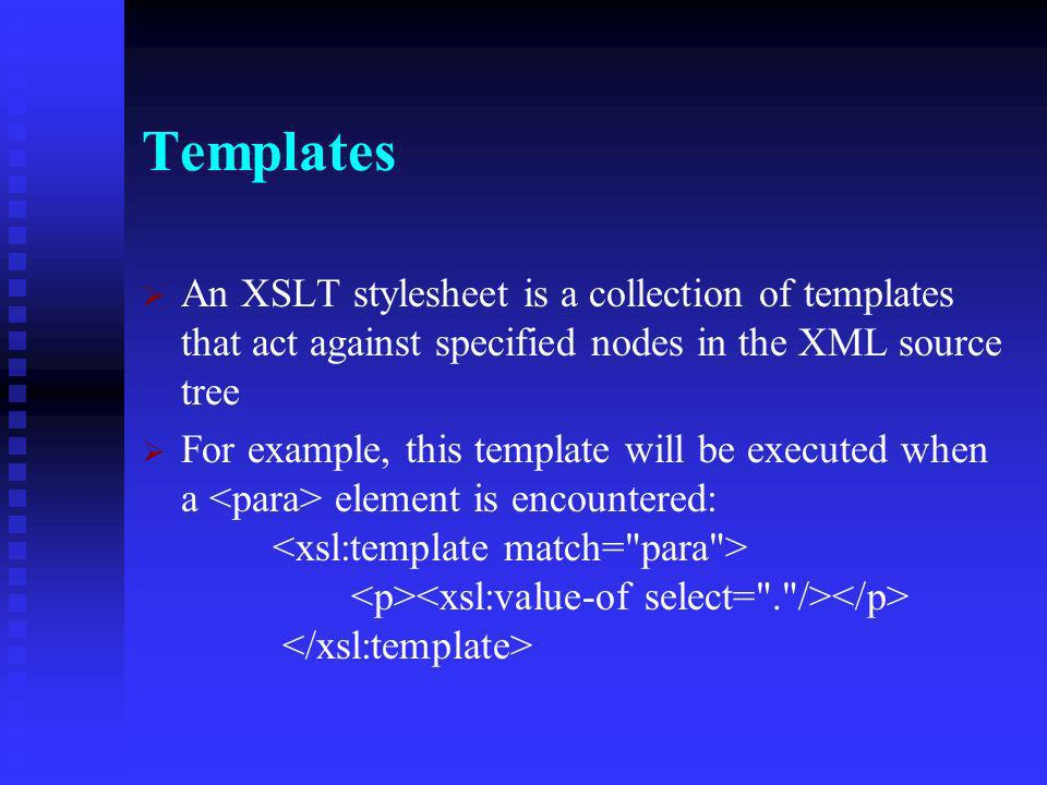 XPath Essentials //book = Select all elements of the root node //book = Select all elements of the root node //book[@sno=1] = Select all elements of the root node that have a sno attribute with the value 1 //book[@sno=1] = Select all elements of the root node that have a sno attribute with the value 1 //book/author = Select all elements that have an element as a parent //book/author = Select all elements that have an element as a parent A period (.) denotes the current context node (e.g.,./author selects any author tag that is a child of the current node A period (.) denotes the current context node (e.g.,./author selects any author tag that is a child of the current node Two periods (..) denote the parent node of the current context Two periods (..) denote the parent node of the current context
