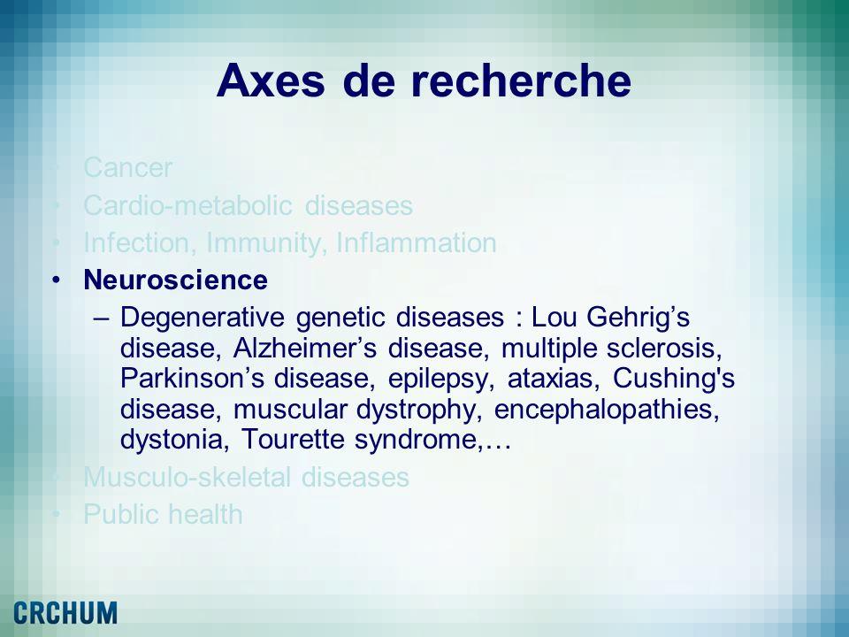 Axes de recherche Cancer Cardio-metabolic diseases Infection, Immunity, Inflammation Neuroscience –Degenerative genetic diseases : Lou Gehrigs disease