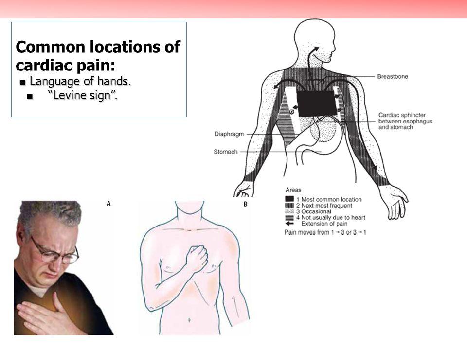 Language of hands. Levine sign. Common locations of cardiac pain: Language of hands. Levine sign.