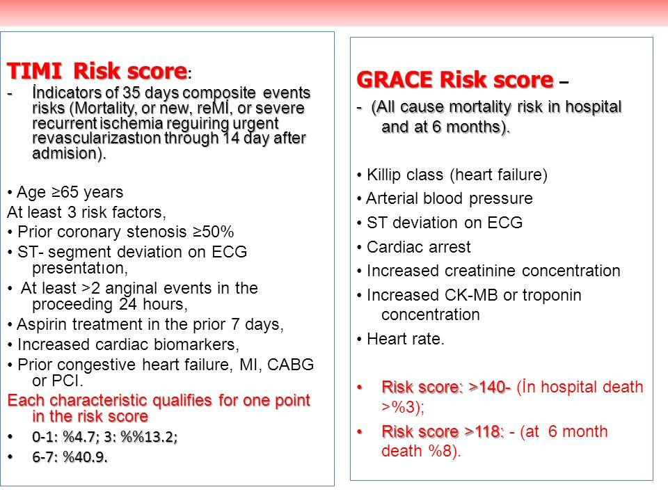 TIMIRisk score TIMI Risk score : -İndicators of 35 days composite events risks (Mortality, or new, reMİ, or severe recurrent ischemia reguiring urgent