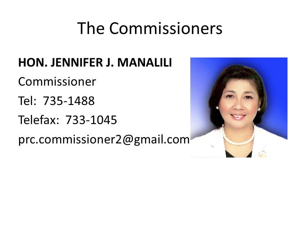 The Commissioners HON. JENNIFER J. MANALILI Commissioner Tel: 735-1488 Telefax: 733-1045 prc.commissioner2@gmail.com