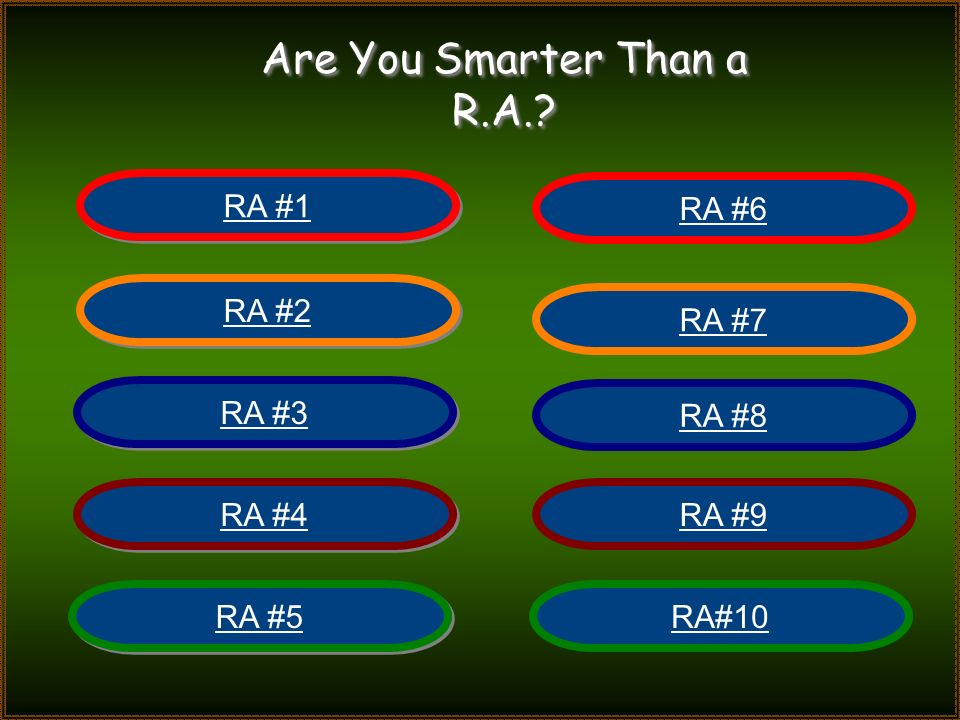 Are You Smarter Than a RA? R.A.?