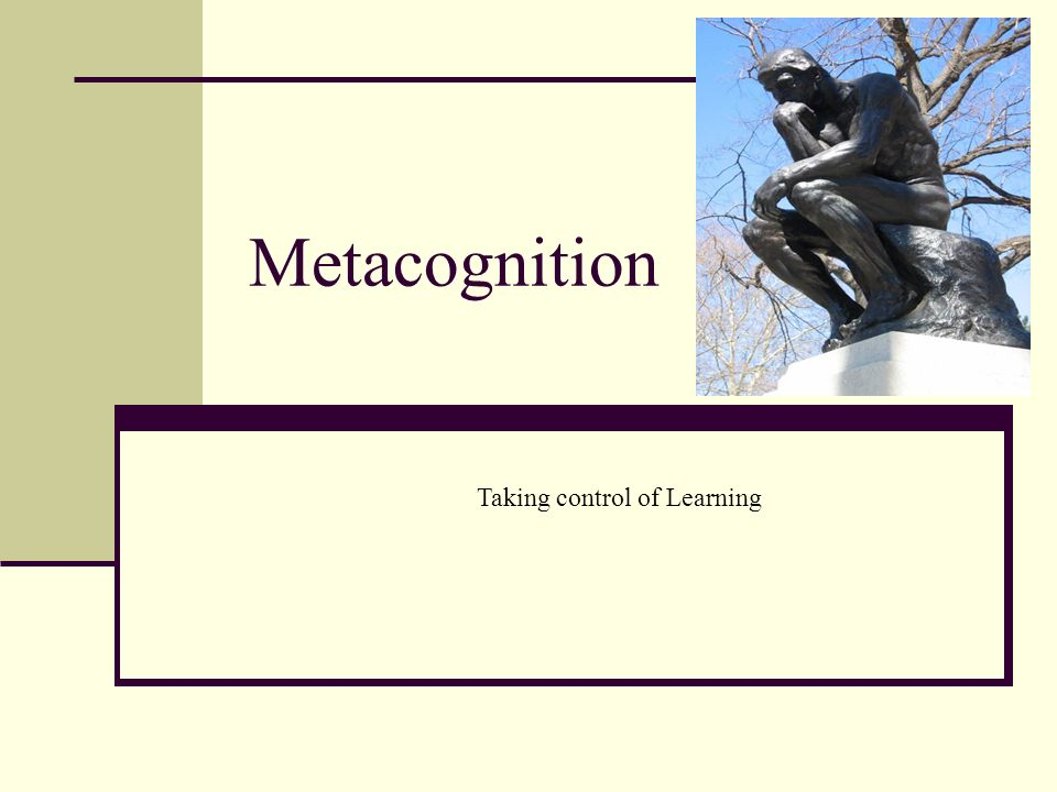 Metacognition Taking control of Learning