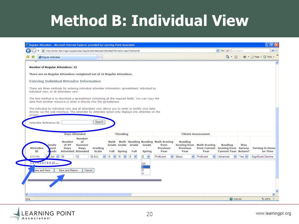 www.learningpt.org 20 Method B: Individual View