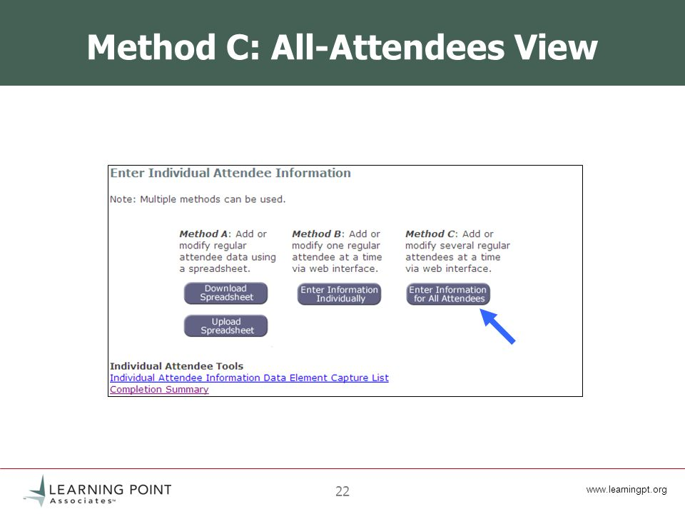 www.learningpt.org 22 Method C: All-Attendees View