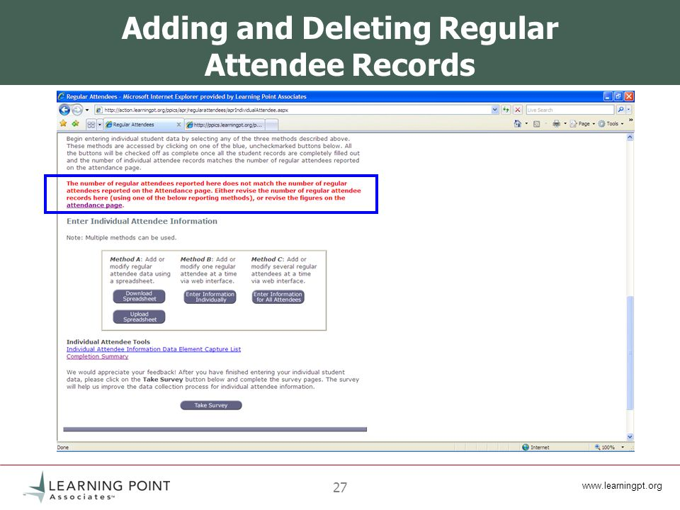 www.learningpt.org 27 Adding and Deleting Regular Attendee Records