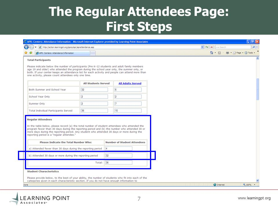 www.learningpt.org 18 Method A: The Spreadsheet Important Points The Regular Attendee spreadsheet is designed to collect information from a single center.