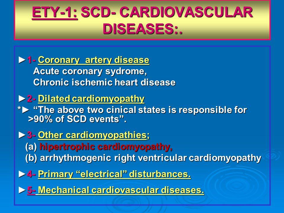 ETY-1: SCD- CARDIOVASCULAR DISEASES:. 1- Coronary artery disease1- Coronary artery disease Acute coronary sydrome, Acute coronary sydrome, Chronic isc