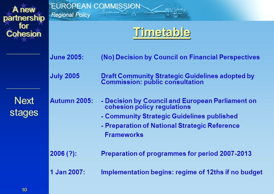 Regional Policy EUROPEAN COMMISSION A new partnership for Cohesion 9 Financial perspectives 2007-2013 The budget is now about 1.07% of GNI The Commission proposed 1.21% Six MS want 1% Parliament has proposed 1.18% (with Cohesion getting 0.41% of GDP) Proposed compromise for June Summit was 1.06%, with, for Cohesion Policy: 307bn (not 336bn): 0.37% GDP (not 0.41%) Convergence 82% (not 78%) Competitiveness 15% (not 18%) Territorial co-operation 2% (not 4%) Financial aspects