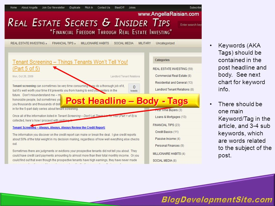 Keywords (AKA Tags) should be contained in the post headline and body.