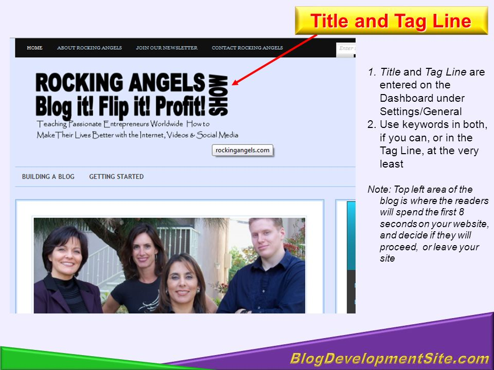 1.Title and Tag Line are entered on the Dashboard under Settings/General 2.Use keywords in both, if you can, or in the Tag Line, at the very least Note: Top left area of the blog is where the readers will spend the first 8 seconds on your website, and decide if they will proceed, or leave your site Title and Tag Line