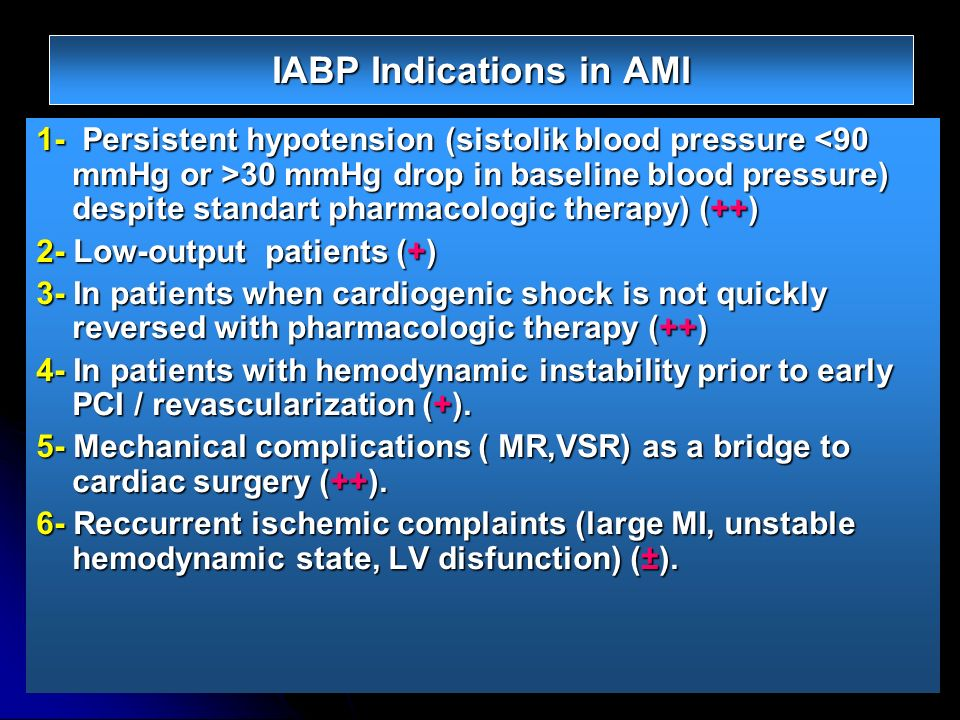 IABP Indications in AMI 1- Persistent hypotension (sistolik blood pressure 30 mmHg drop in baseline blood pressure) despite standart pharmacologic the