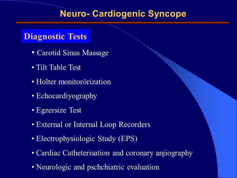Diagnostic Tests Carotid Sinus Massage Tilt Table Test Holter monitorörization Echocardiyography Egzersize Test External or Internal Loop Recorders El