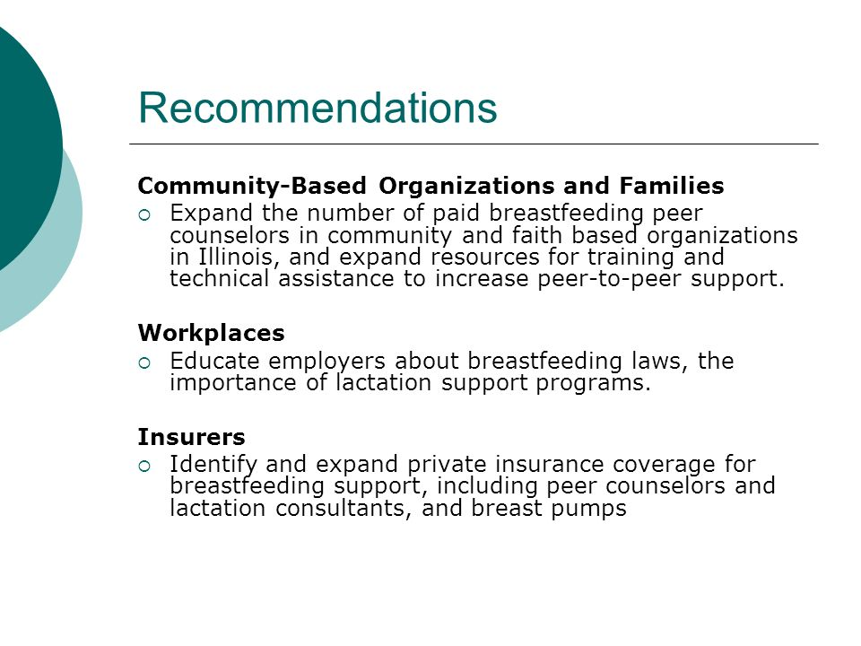 Recommendations Community-Based Organizations and Families Expand the number of paid breastfeeding peer counselors in community and faith based organi