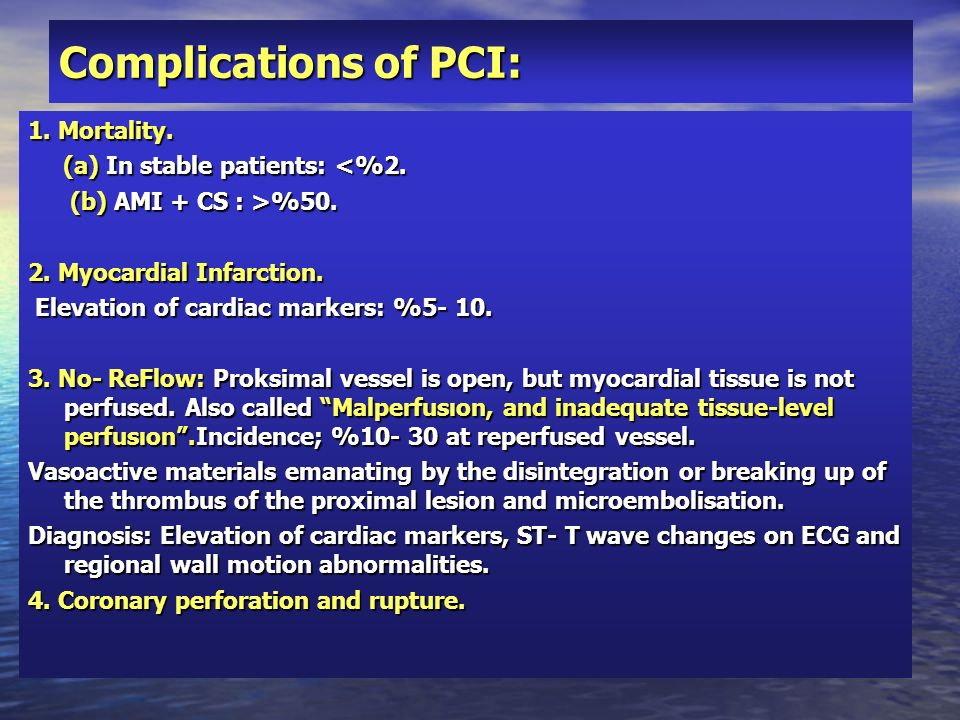 Complications of PCI: 1. Mortality. (a) In stable patients: <%2. (a) In stable patients: <%2. (b) AMI + CS : >%50. (b) AMI + CS : >%50. 2. Myocardial