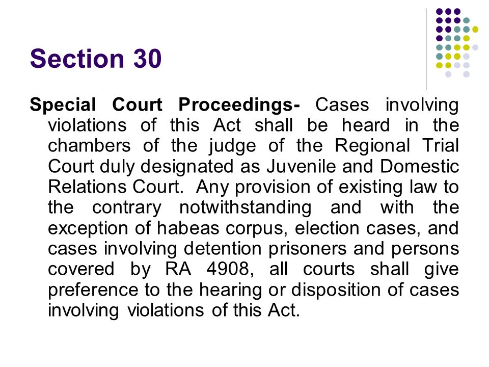 Section 30 Special Court Proceedings- Cases involving violations of this Act shall be heard in the chambers of the judge of the Regional Trial Court d