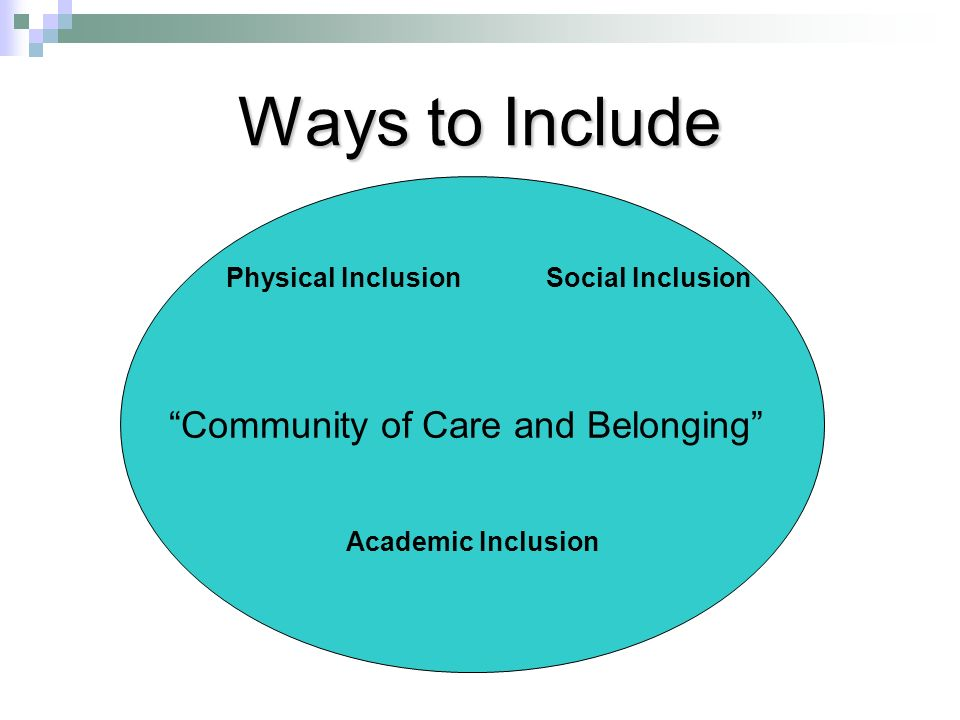 Ways to Include Community of Care and Belonging Physical InclusionSocial Inclusion Academic Inclusion