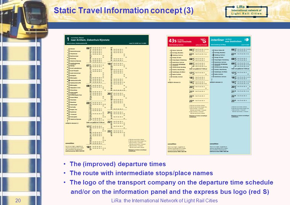 LiRa: the International Network of Light Rail Cities19 Static Travel Information concept (2) The information column with modality, line number and destination The zone number and boundaries The (improved) departure times The route with intermediate stops/place names The line map List of destinations near the bus stop (and if possible a local map or map of district or town) The logo of the transport company on the departure time schedule and/or on the information panel and the express bus logo (red S) Public transport information and a service number