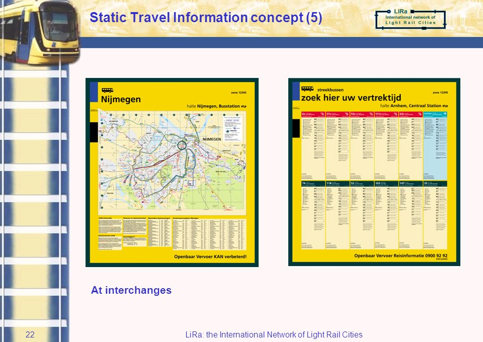 LiRa: the International Network of Light Rail Cities21 List of destinations near the bus stop (and if possible a local map or map of district or town) Static Travel Information concept (4)