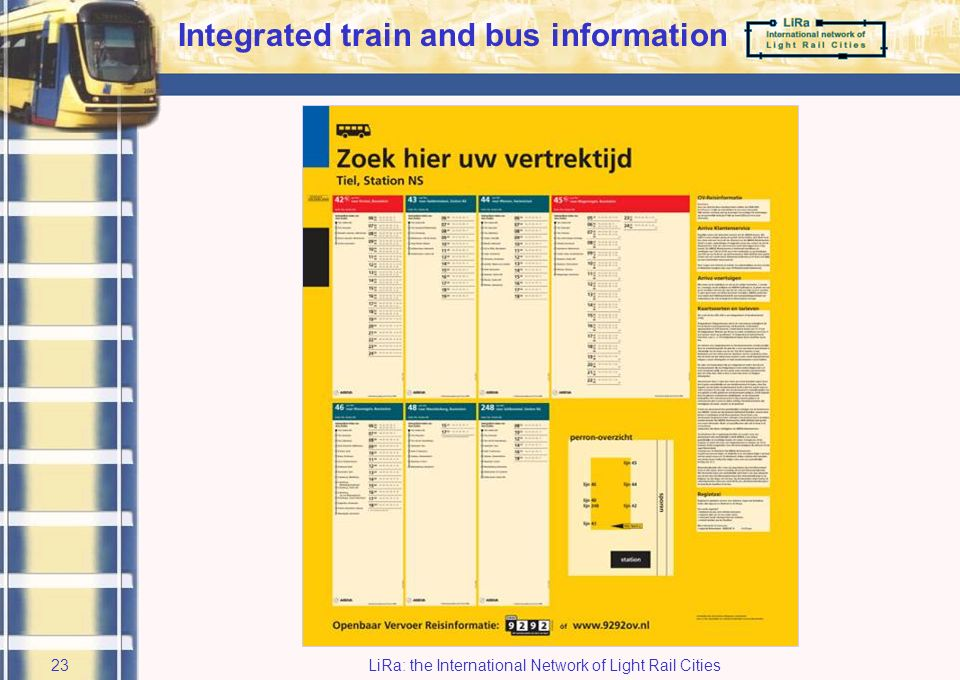 LiRa: the International Network of Light Rail Cities22 At interchanges Static Travel Information concept (5)