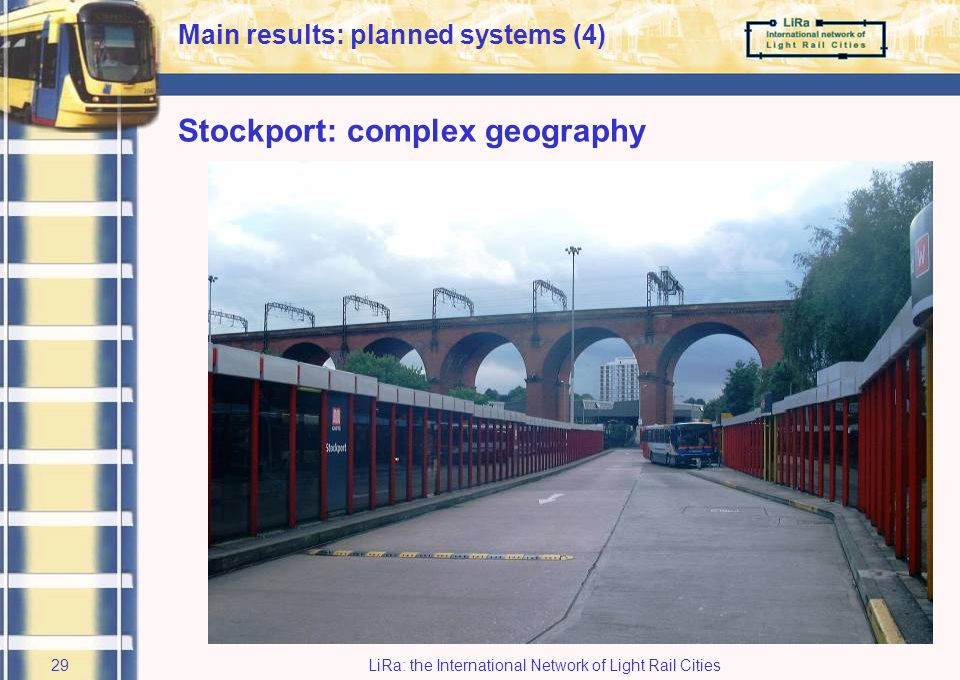 LiRa: the International Network of Light Rail Cities28 Stockport Background: –public transport essential for community / economy –new quality rapid transit east-west alignment planned Target: –shared vision as to integration in urban fabric LiRa-2 expert session has viewed, discussed and evaluated various solutions… –for planning of new public transport axis –relating to existing services including bus station –planning issues optimal embedding of axis within town Main results: planned systems (3)