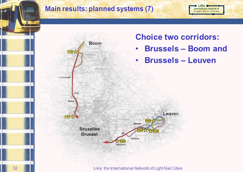 LiRa: the International Network of Light Rail Cities31 BSeamless Journeys ex ante planning Brussels Capital Region and Province of Vlaams-Brabant Main