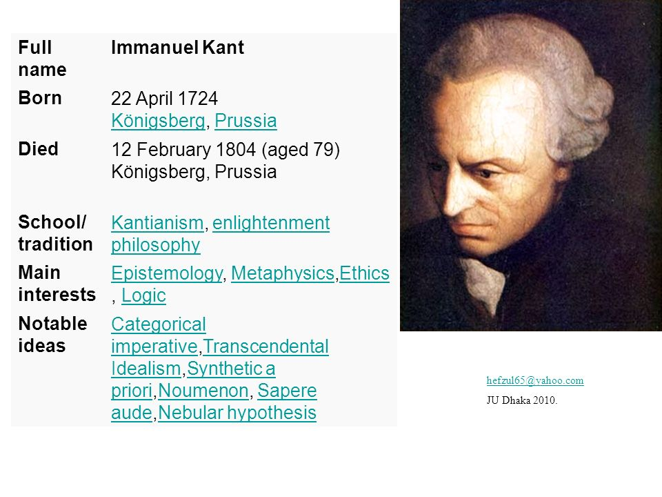 Full name Immanuel Kant Born22 April 1724 Königsberg, Prussia KönigsbergPrussia Died12 February 1804 (aged 79) Königsberg, Prussia School/ tradition K