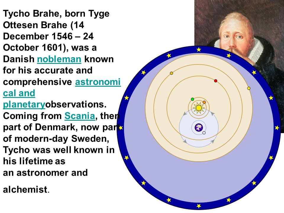Tycho Brahe, born Tyge Ottesen Brahe (14 December 1546 – 24 October 1601), was a Danish nobleman known for his accurate and comprehensive astronomi ca