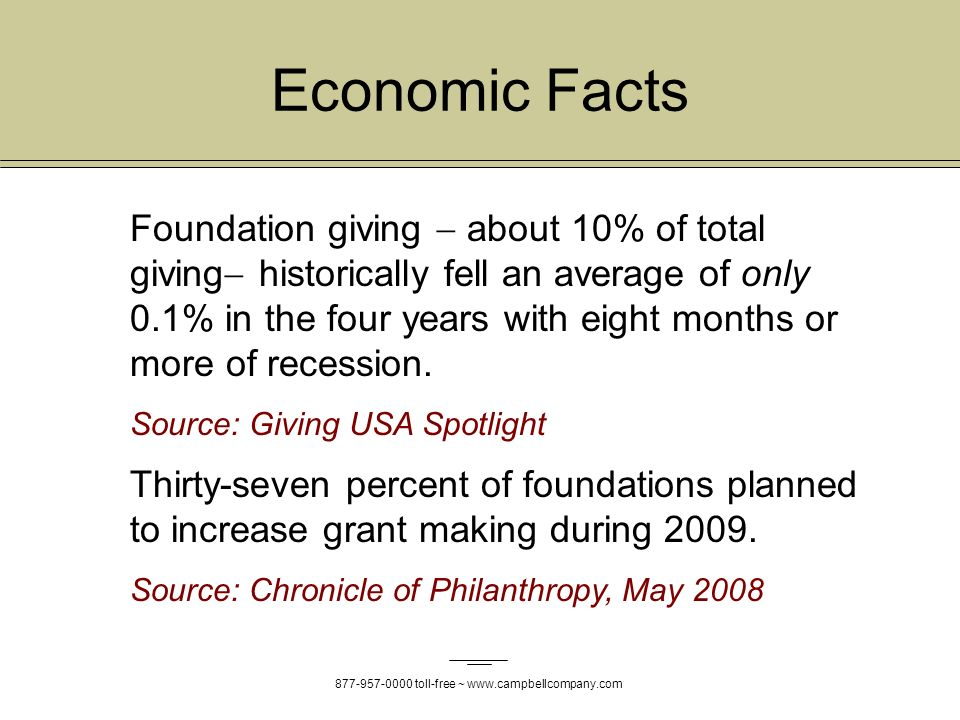 877-957-0000 toll-free ~ www.campbellcompany.com Economic Facts Foundation giving about 10% of total giving historically fell an average of only 0.1% in the four years with eight months or more of recession.