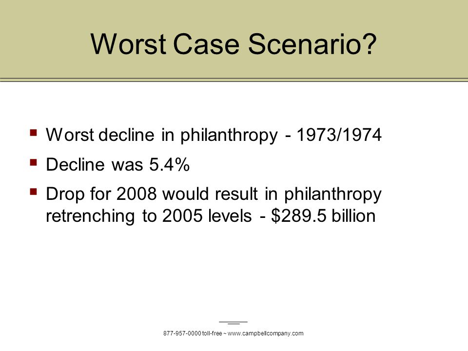 877-957-0000 toll-free ~ www.campbellcompany.com Worst Case Scenario.