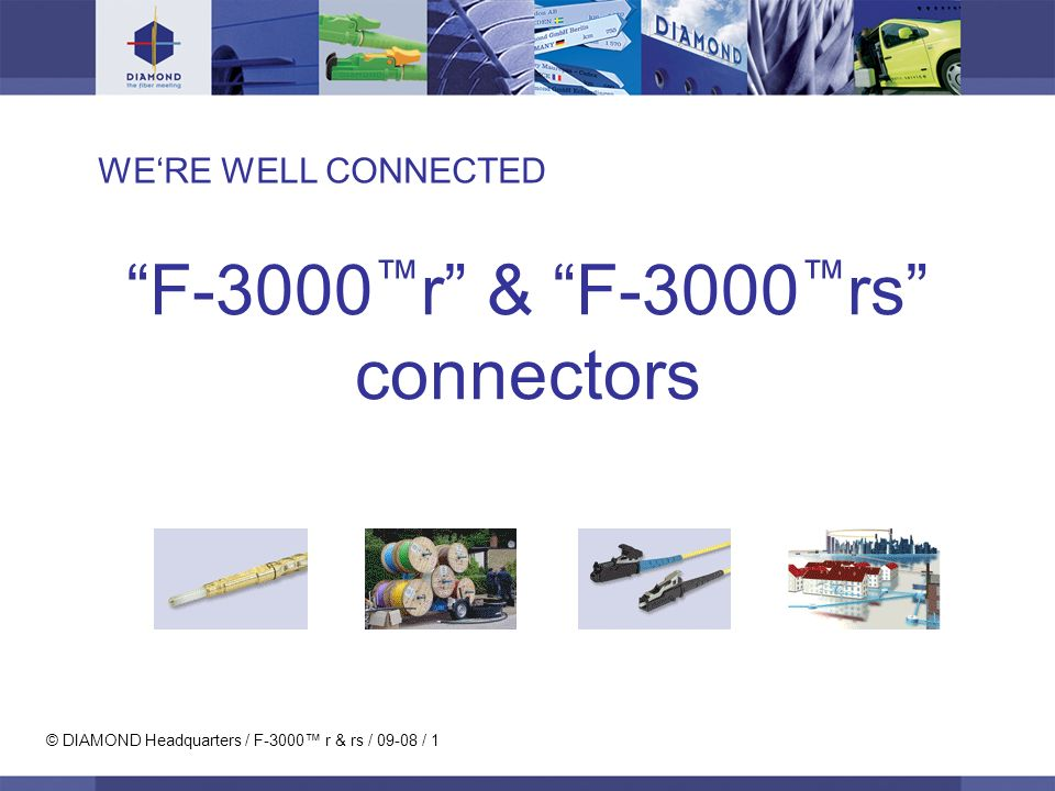 © DIAMOND Headquarters / F-3000 r & rs / 09-08 / 1 WERE WELL CONNECTED F-3000 r & F-3000 rs connectors