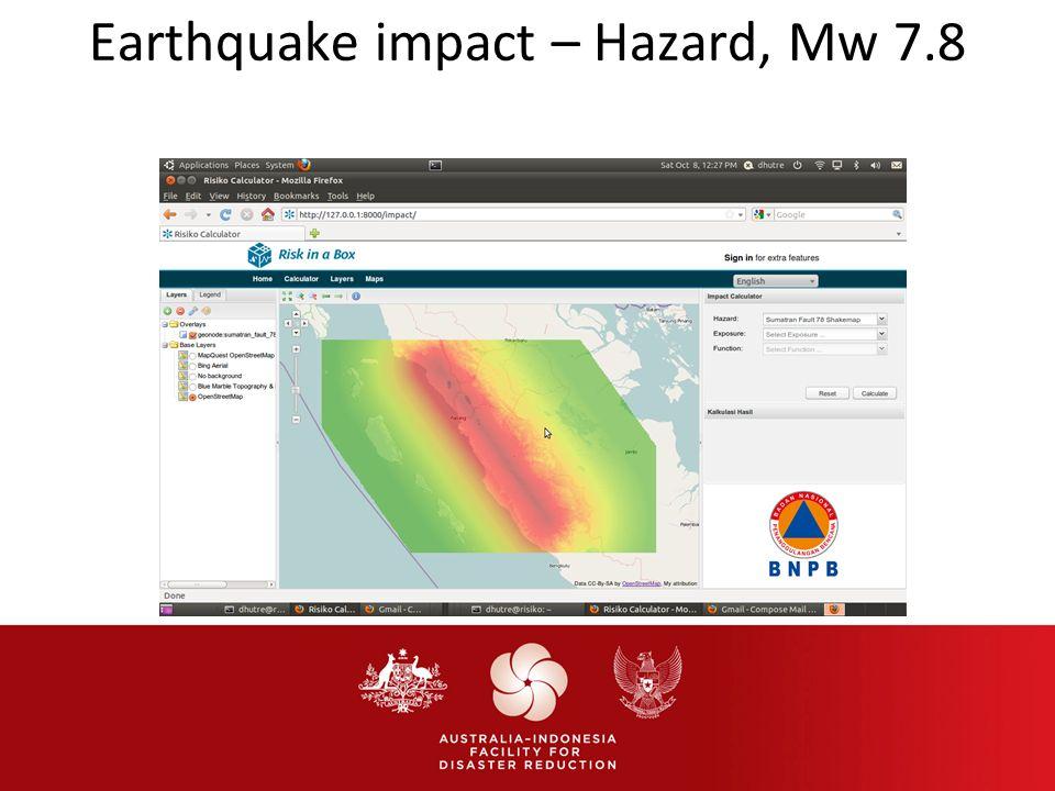 Earthquake impact – Hazard, Mw 7.8