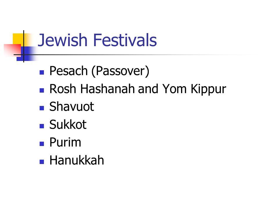 Jewish Festivals Pesach (Passover) Rosh Hashanah and Yom Kippur Shavuot Sukkot Purim Hanukkah